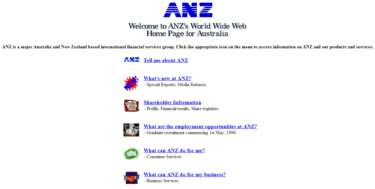 ANZ's First Website