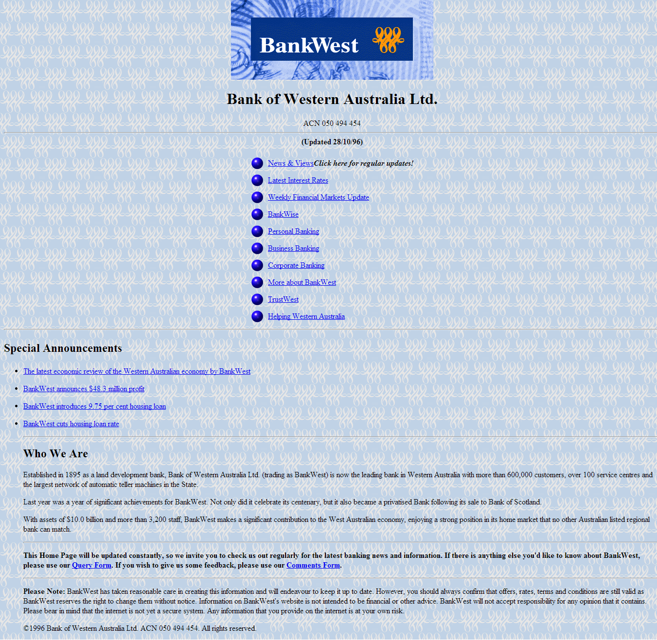 Bankwest's First Website