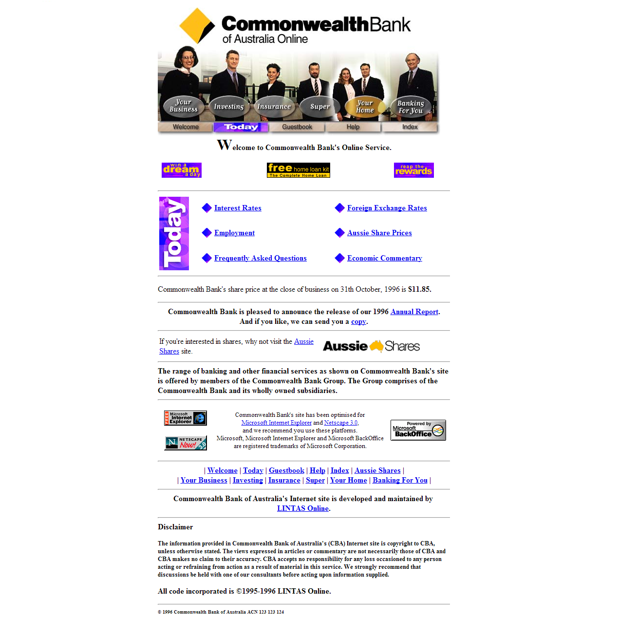 Commonwealth Bank's First Website