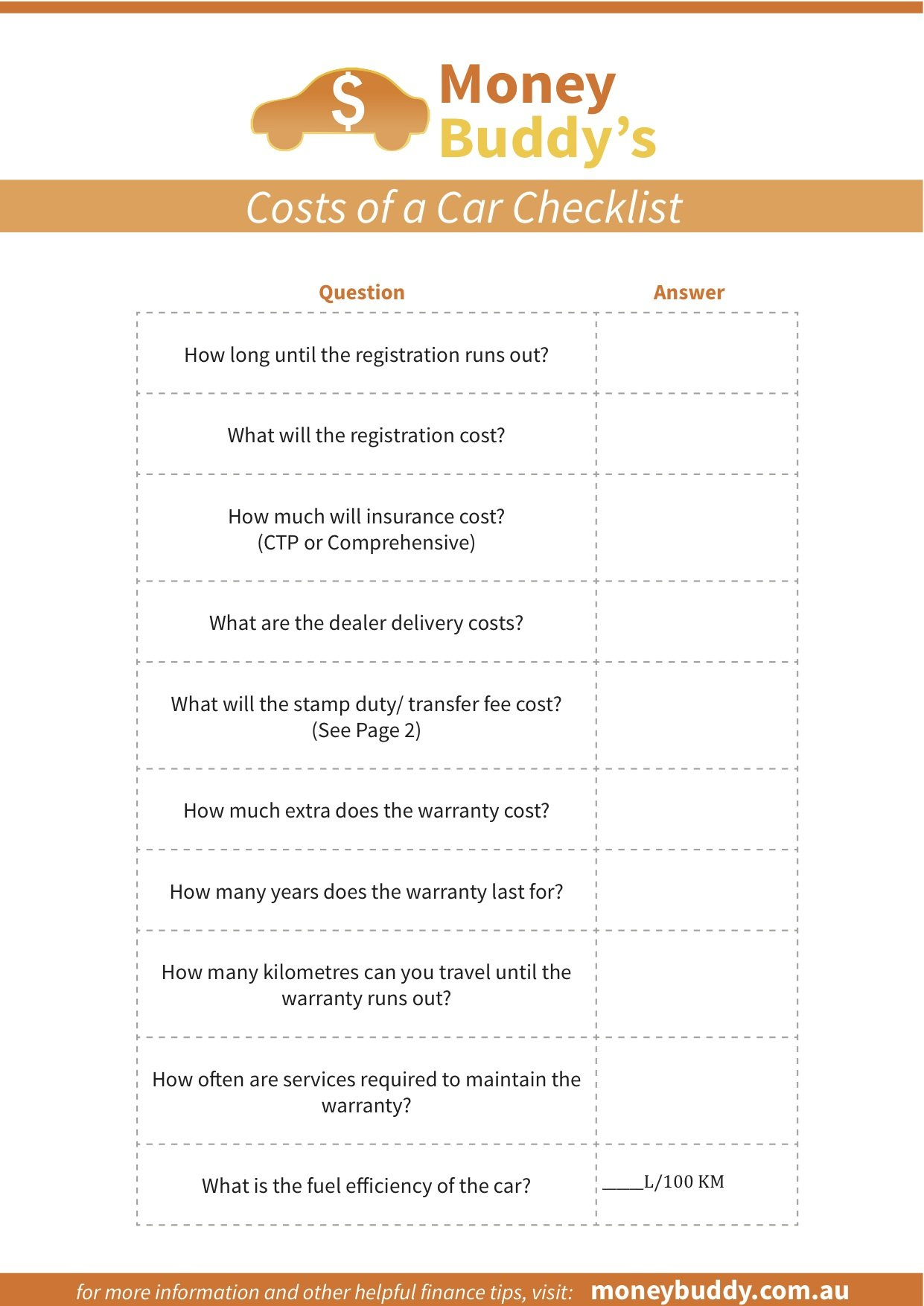 Car Costs Checklist
