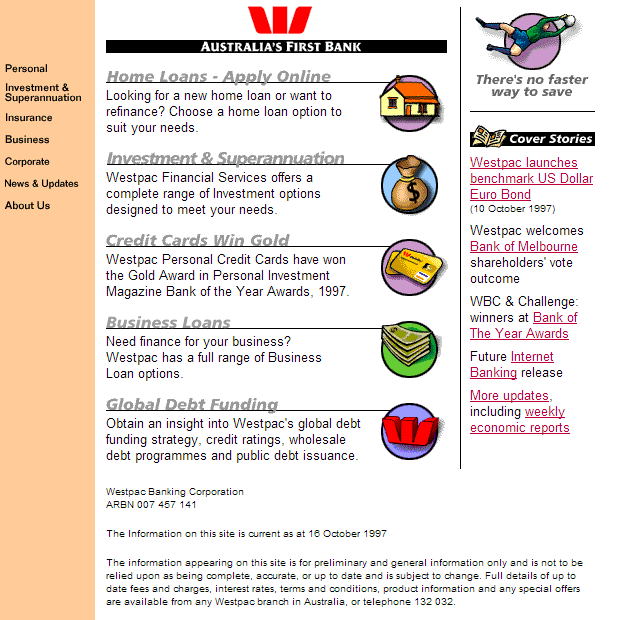 Westpac's First Website